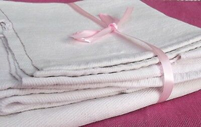 Vintage French Fabric hand Woven hemp Pink blush 1900 linen textile