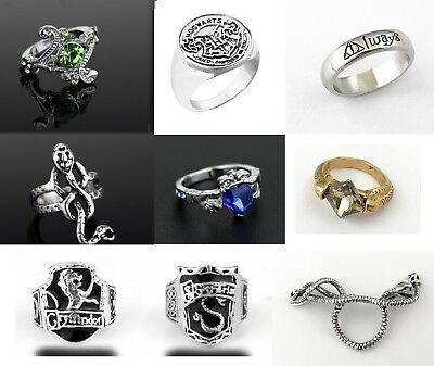 Harry Potter Slytherin Gryffindor Ravenclaw House Lion Snake Ring & Gift Bag