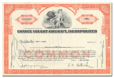 Chance Vought Aircraft, Incorporated Stock Certificate - Great Vignette!
