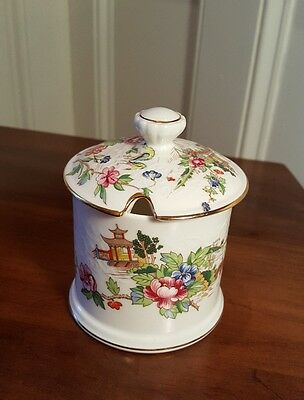 Crown Staffordshire Fine Bone China~ Pagoda ~ Jam/Jelly Jar with Lid ~ Excellent