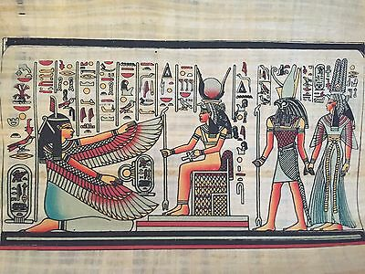 Ancient Egyptian Winged Goddess Isis Papyrus Painting Egypt Gift collectible .