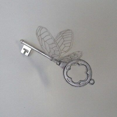 Handmade flying key in shiny silver with choice of wings - SRS LP/LBF
