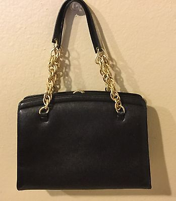 Vintage Classic Black DOFAN Leather Purse With Gold Chain Handles BEAUTIFUL RARE