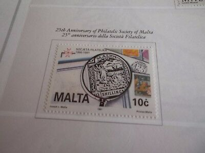 Malta 1991 Sg 887 25Th Anniv Of Philatelic Society Mnh.