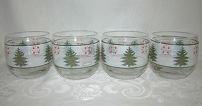 4 Mid Century Vintage Signed CULVER Roly Poly Christmas Trees & Wreaths Glasses