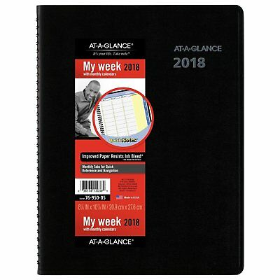 AT-A-GLANCE W/Monthly App/Plan, Jan 18-Dec 2018,8-1/4x11, LRG Black, 76-950-05