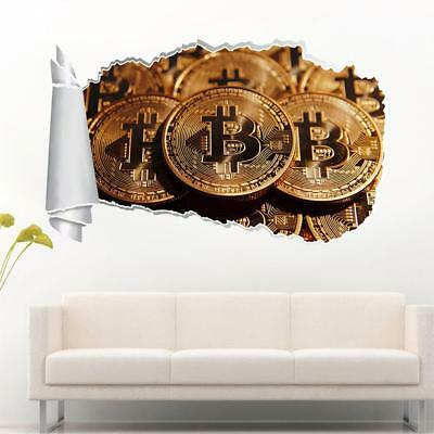 Bitcoin Cryptocurrency 3D Torn Hole Ripped Wall Sticker Decal Art Mural WT462