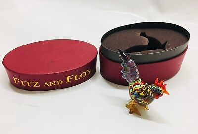 "Fritz & Floyd/Glass Menagerie/ Rooster/2003/New in Box/ 43/103 Made/4"" Tall"