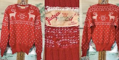 "VTG 30s 40s JANTZEN USA WOOL SKI SWEATER RED REINDEER SNOWFLAKES 38"" CHEST"