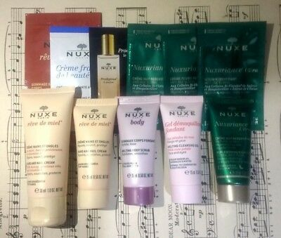 NUXE Sample Lot Hand Nail Cream Melting Cleansing Gel Replenishing Night & More
