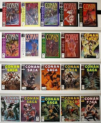 Conan Saga Mag Lot of 40 comics VF or better  Issues between 1-79, not straight