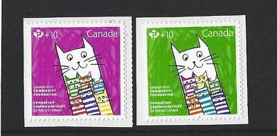 Canada 2017 Stylized Cats Community Charity Self Adhesive Pair Unmounted Mint