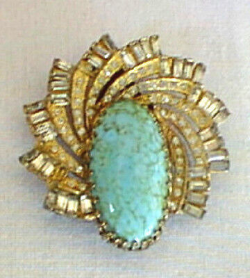 Rare Vintage S Friedman Fancy Dress Scarf Clip Pin Large Turquoise Color Stone
