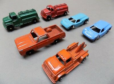 Lot of 6 vintage TOOTSIETOY DIECAST METAL CARS & TRUCKS Ford GT El Camino tank