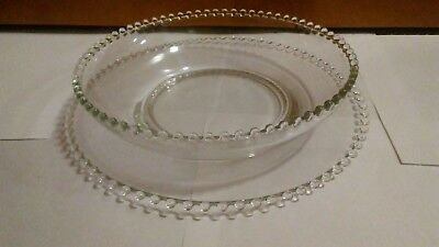 """Beautiful  Candlewick IMPERIAL GLASS  10 1/2"""" BOWL 12 1/2"""" UNDER PLATE"""