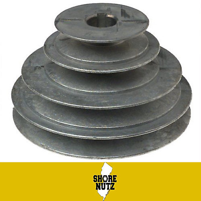 "4 Step Pulley #140 1-3/4"" 2-1/4"" 2-3/4"" 3-1/4"" X 5/8 Bore, Keyway For ""1/2"" Belt"