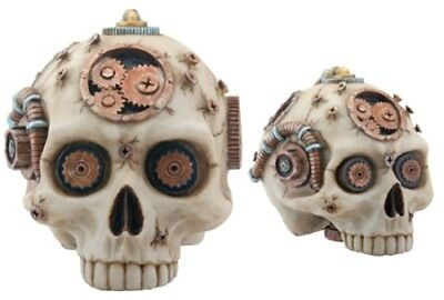 Steampunk Skeleton Head Skull Statue Figurine Resin Home Decor