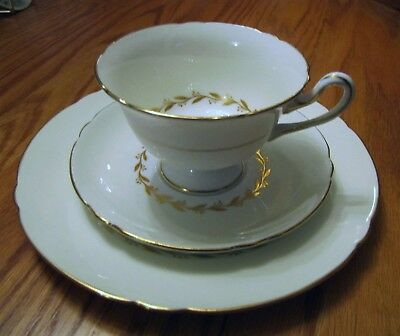 Shelley Tea Cup & Saucer Trio Bridal Wreath Pattern Excellent Condition
