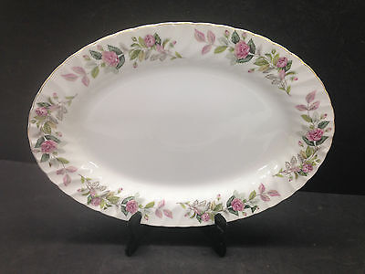 """Regency Rose by Creative 12"""" Oval Platter Pink Roses Gray Green Leaves Gold Trim"""