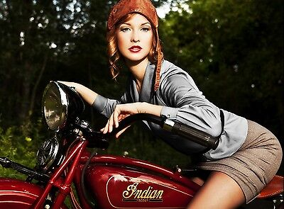 "INDIAN MOTORCYCLE VINTAGE AD WITH GIRL ART POSTER REPRINT – 18"" x 24"" Giclee"