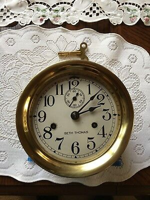 "Vintage Ship Clock Brass Seth Thomas 6 7/8"" Diameter"