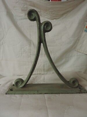"Vintage Large Cast Iron Sage Green Scrolling Wall Hook 12"" x 12"""