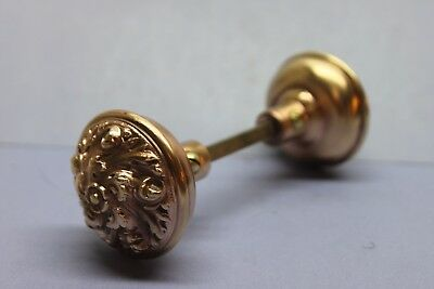 Vintage Victorian Solid Brass Ornate Decorative Door Knob Set w/ Spindle