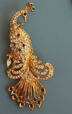 Vintage  Peacock Brooch In Gold Tone Metal With crystals