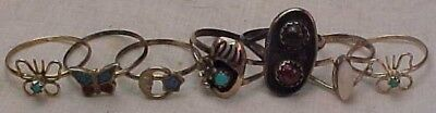 Lot of 7 Vintage Navajo Sterling Silver RINGS   TURQUOISE  CORAL  Size 6