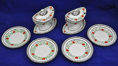 Pair of Antique Spode Floral Sauce Tureens with Reticulated Plates 1805