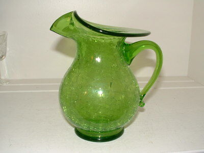 """2 Vintage Green Crackle Glass 6 Inch  4"""" Tall Mid-century Pitcher"""