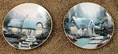 Two 1991 Knowles Thomas Kinkade Cedar Nook & Candlelit Cottage Plates