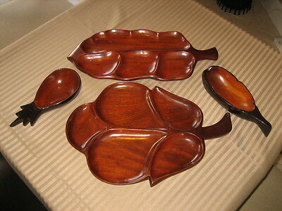 Lot 4 Piece Vintage Solid Mahogany Almost 4 Pounds - Hand Made Wood 60+ Yrs Old!