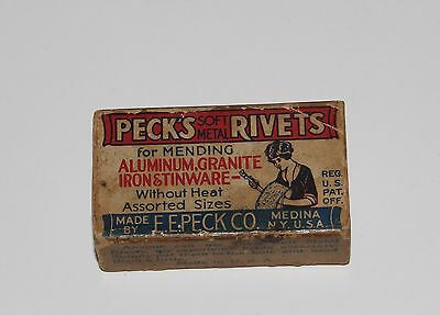 Vintage Advertising Box For Peck's Soft Metal Rivets