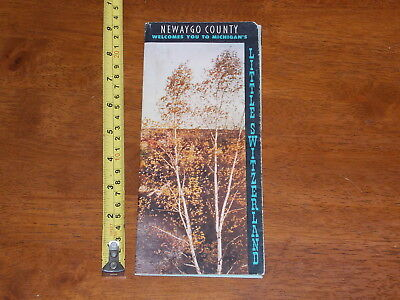 Brochure Old Vintage Newaygo County Michigan Map Little Switzerland Foldout