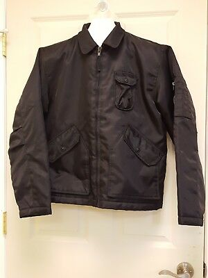 J.Crew Dark Navy Blue Bomber Flight Jacket Coat Zip Medium Nylon Quilted/Lined