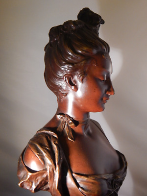 Antique French Bronze Bust Statue of Beautiful Woman –  c. 1875 (Listed Artist)