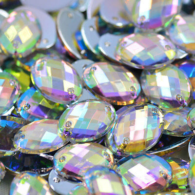 Crystals Flatback Rhinestones Sew On Acrylic Stones OVAL For Clothes -CLEAR & AB