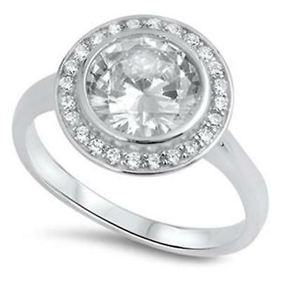 HALO LARGE SOLITAIRE RING  Womens NEW Genuine STERLING SILVER Ring ~ Size 8 / Q