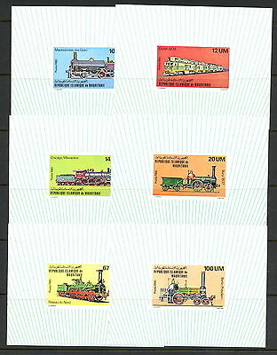 Mauritania 1980  trains locomotives   IMPERF DELUXE SHEETS   MNH   H809