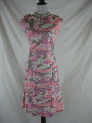 Vtg 50s 60s Shaker Square Bill Simmons Womens Vintage PINK NWT NOS Birds Dress