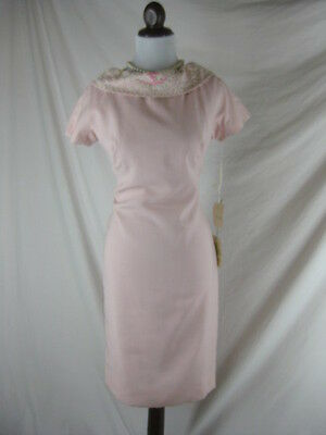 Vtg 50s 60s Parnes Feinstein PINK Beaded NWT NOS Linen Cocktail Dress W 32