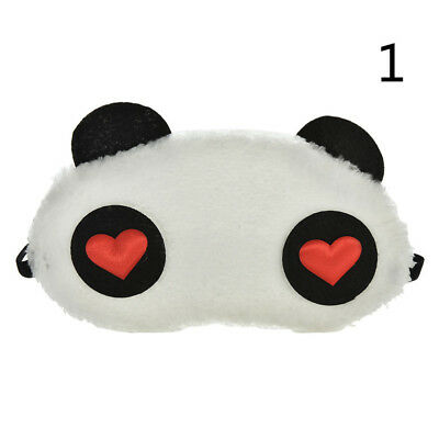Fluffy Panda heart eyes sleep mask sleeping travel aid blindfold eyeshade cover