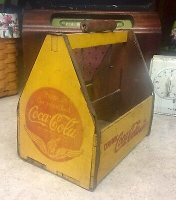 Vintage Wooden Coca Cola Six Pack Bottle Carrier Wood Coke Caddy War Wings
