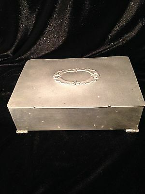 "C03 Vintage Antique METAL & WOOD DRESSER BOX 9'X6"" Footed, Oval Scroll on top"