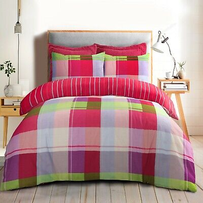 Harley Multi Color Check Duvet Cover Quilt Bedding Set With Pillow Cases