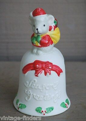 "Vintage Bisque Christmas Mouse Dinner Bell ~ ""Season's Greetings"""
