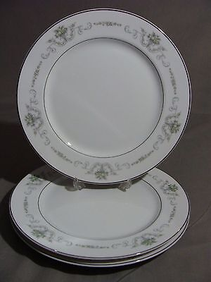 3 Rose China Dinner Plates In The Gainsborough #2222 Pattern, Made In Japan