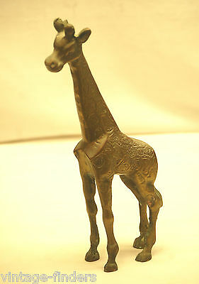 "Vintage Solid Brass Giraffe Wild Animal Safari Figurine 10-1/4"" T Home Decor a"