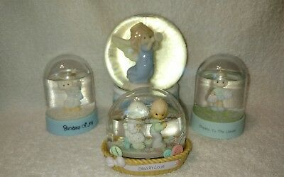 """Precious Moments Musical Snow Globe """"JOY TO THE WORLD"""" & 3 Water Globes."""